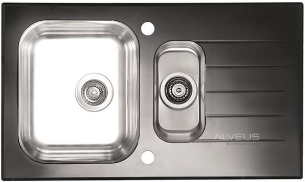 ALVEUS GLASSIX 20 zlewozmywak szklany czarny odwracalny