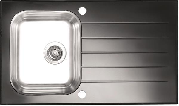 ALVEUS GLASSIX 10 zlewozmywak szklany czarny odwracalny