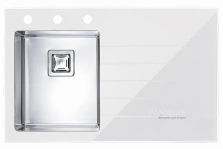 ALVEUS CRYSTALIX 10 zlewozmywak szklany biały lewy