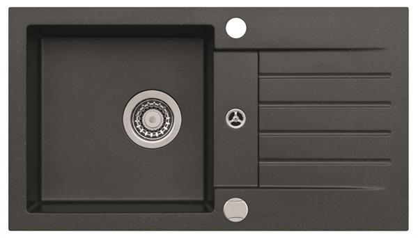 ALVEUS AMARO 130 Zlewozmywak granital kolor czarny 91, z syfonem POP-UP